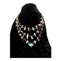 3 Strand Zuni Animal Fetish Necklace Turquoise Eagle