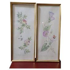 2 Fine Vintage Watercolors Roses Vines Butterflies 1930s Signed