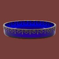 Continental Silver Mounted Cobalt Blue Glass Bowl / Centerpiece
