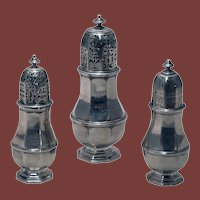 18th Century George I Silver Three-Piece Shaker/ Muffineer Set