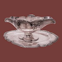 French Silver Empire Gravy Bowl and Tray by Puiforcat