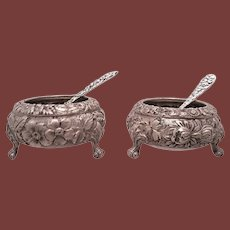 Pair of Repousse Stieff Sterling Silver Open Salts With Spoon by Kirk