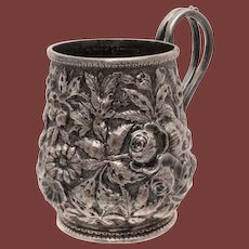 Antique Coin Silver Child Mug by S Kirk & Son in Repousse Design