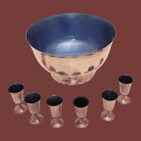 Towle Sterling Silver Punch Bowl and 6 Cups w/ Blue Enamel Interiors