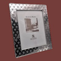 Del Conte Sterling Silver Picture Frame with Fleur-de-Lis Pattern