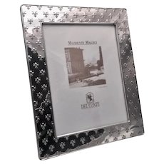 Del Conte Sterling Silver Picture Frame with Fleur-de-Lis Pattern