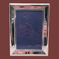 Del Conte Sterling Silver Picture Frame With Polka Dot Pattern