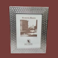 Del Conte Sterling Silver Picture Frame With Triangular Pattern 5 x 7
