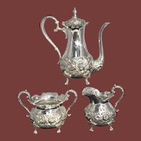 3-Piece Stieff Rose Sterling Silver Repousse Demitasse Coffee Service