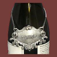 Buccellati Italian Sterling Silver Gin Claret Jug Label