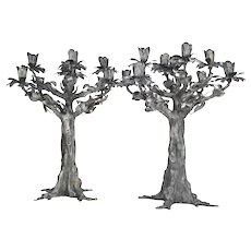 Silver Nine-Light Monumental Pair of Tree-Shaped Candelabra by Stancampiano