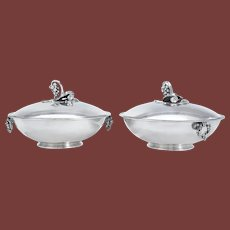 Pair of Georg Jensen Silver Grapevine Pattern Tureens