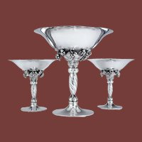 Set of 3 Georg Jensen Silver Compotes / Centerpieces in Grapevine Pattern