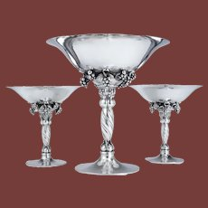 Set of 3 Georg Jensen Silver Compotes in Grapevine Pattern