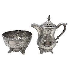 American Coin Silver Tea Pot and Bowl by W. Gale