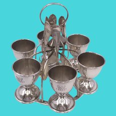 Sterling Silver Egg Caddy / Holder with Cups and Spoons