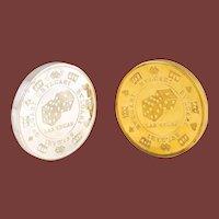 Pair of Bulgari / Bvlgari Sterling & Gilt Sterling Silver Paperweights As Casino Chips