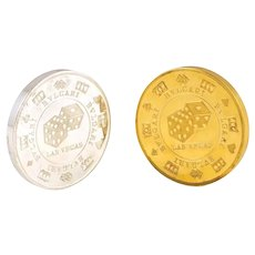 Pair of Bulgari / Bvlgari Sterling & Gilt Sterling Silver Paperweights As Casino Chips