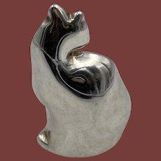 Sterling Silver Cat Shaped Paperweight by De Vecchi
