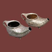 Pair of Dominick & Haff Aesthetic movement sterling silver vessels Circa 1891