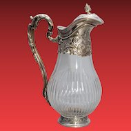 French Silver & Glass Claret Jug