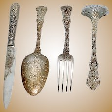 Vine Pattern  Dessert Silver  Flatware Service  for 12