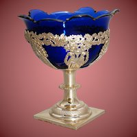 Dutch Sterling Silver Center Piece with Blue Cobalt  18th Century