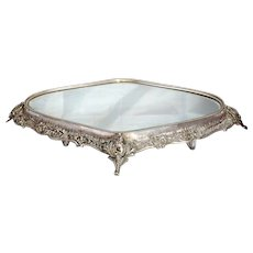 German Silver Oval Mirrored Plateau