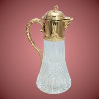 Antique Glass and Silver Mounted Claret Jug