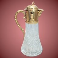 Antique Glass and Sterling Silver Mounted Claret Jug