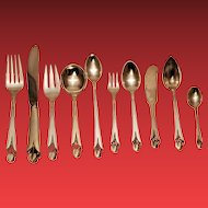 153 Piece Frank Smith Woodlily Pattern Flatware Service for Sixteen