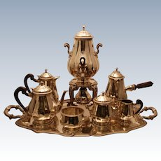 Fine French Puiforcat First Standard .950 Silver Ebony Coffee & Tea Service