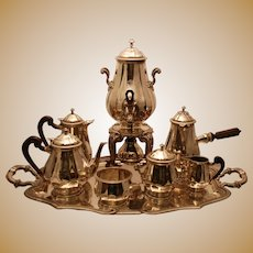Fine French Puiforcat First Standard .950 Silver Ebony Coffee & Tea Service