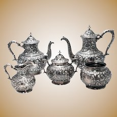Hamilton & Diesenger Floral Sterling Silver Five-Piece Tea Set