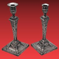 Pair of English Sterling Silver Repousse Candlesticks