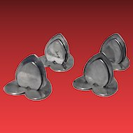 Set Of Four English Sterling Silver Heart Place Card Holders