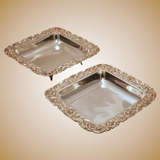 Set of Two Sterling Silver Repousse Pattern Square Footed Centerpieces