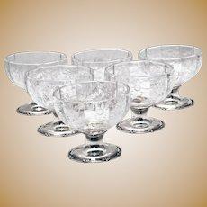 Set of Six Gorham Sterling Silver Brilliant Cut Glass Dessert Bowls