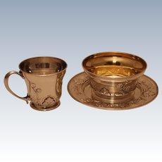 Gorham Athenic Sterling Silver Three - Piece Child's Set