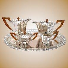 Joseph Hoffman Style Dutch Silver Five-Piece Tea Set
