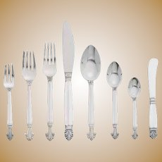 Georg Jensen Sterling Silver Acanthus Flatware Set - 105 pcs.