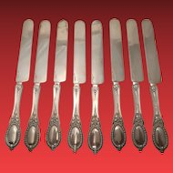 Rare Set of 8 All Silver Breakfast Knives Henry Hebbard Circa 1859