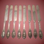 Rare Set of 8 All Silver Breakfast Knives Henry Hebbard Circa 1859