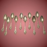 Set of Ten Sterling Silver Medallion Pattern Spoons by Hotchkiss & Schreuder Era