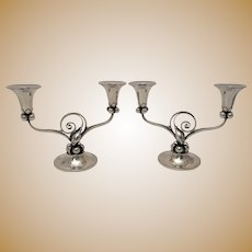 Pair of Alphonse LaPaglia-designed Sterling Silver Candelabra