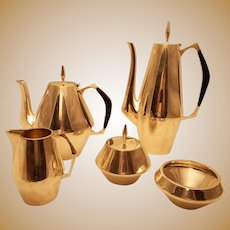 Sterling silver Diamond Pattern Five-Piece Tea and Coffee Set, Gio Ponti