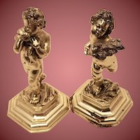 Pair of Italian Solid Silver 800 Two of the Four Seasons Cherubs