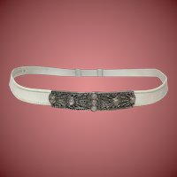 Judith Leiber White Snakeskin Leather Belt with Quartz Gemstones
