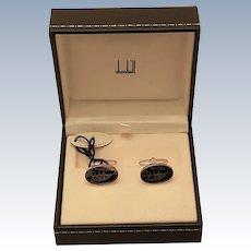 Dunhill Gilt Sterling Silver Golf Cufflinks-Black