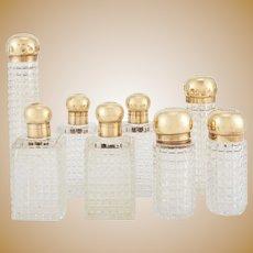 Asprey 18K Gilt and Glass Perfume Bottles Set of Set of Eight